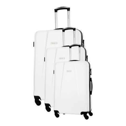 Travel One White Pandara Set Of Three 4 Wheeled Suitcases 46/56/66cm