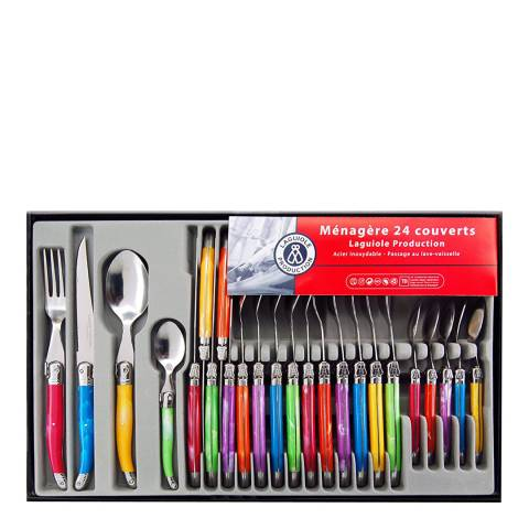 Laguiole 24 Piece Cutlery Set, Multi Coloured