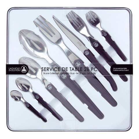 Laguiole 26 Piece Cutlery Set with Servers, Black