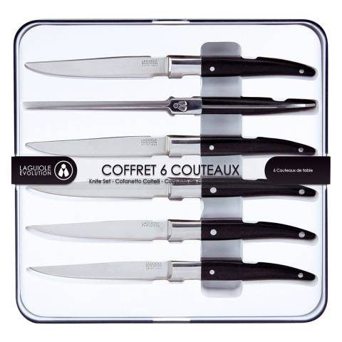 Laguiole Set of 6 Knives,Stainless Steel with Black Logo Handles