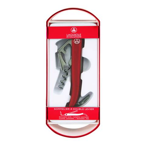 Laguiole Sommelier Evolution Bottle Opener, Red