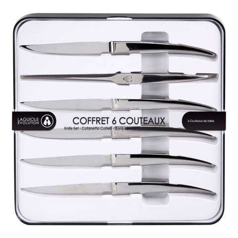 Laguiole Set of 6 Heritage Steak Knives, Mirror Finish