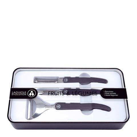 Laguiole Stainless Steel Peeler Set, Black