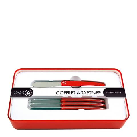 Laguiole Stainless Steel Butter Knife Set, Red