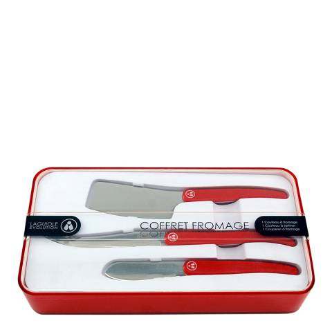 Laguiole Set of 3 Red Specialist Cheese Knives