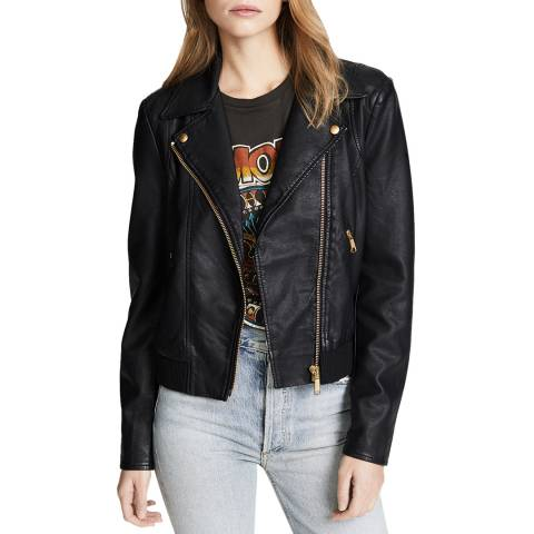 Free People Black Modern Vegan Leather Jacket