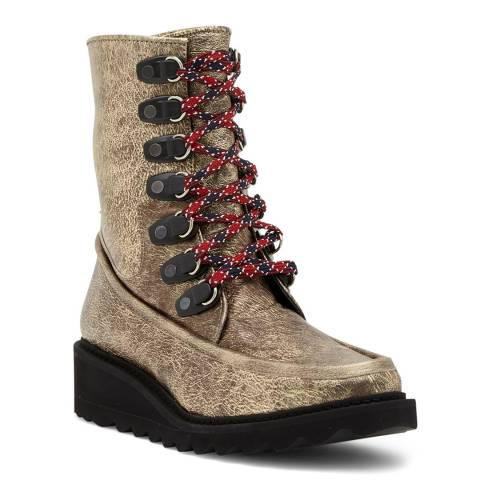 Free People Gold Fallon Hiker Boots