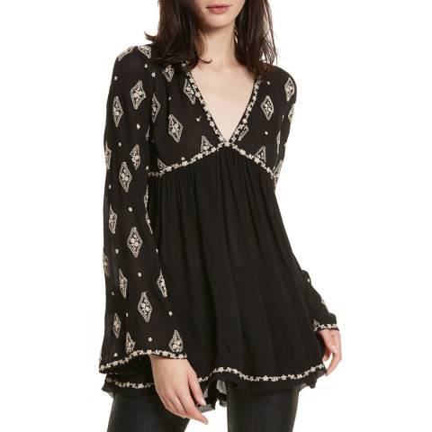 Free People Black Diamond Embroidered Top