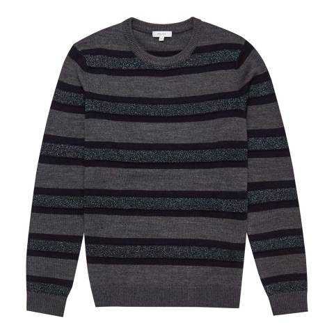 Reiss Grey Embleton Lurex Stripe Jumper