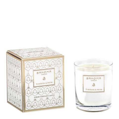 Bahoma White Pearl Collection Tuberose & Musk Candle 220g