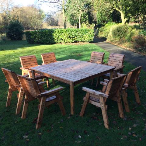 Charles Taylor Eight Seater Deluxe Square Table Set, Chairs