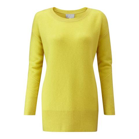 Pure Collection Chartreuse Cashmere Textured Crew Neck Jumper