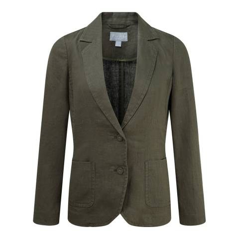 Pure Collection Deep Khaki Laundered Linen Jacket