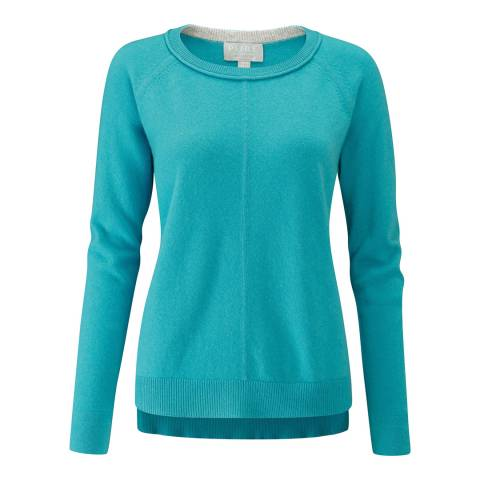 Pure Collection Dark Turquoise Cashmere Stepped Hem Jumper