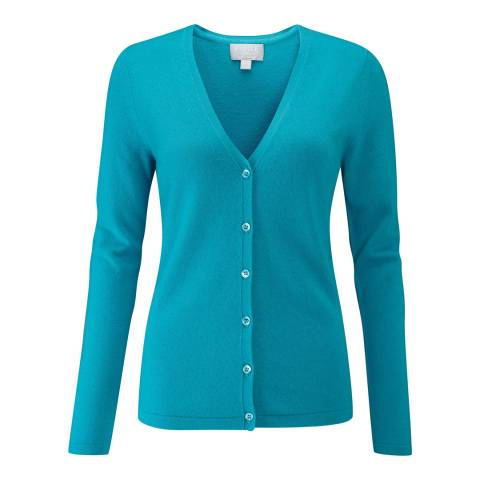 Pure Collection Dark Turquoise Cashmere V Neck Cardigan