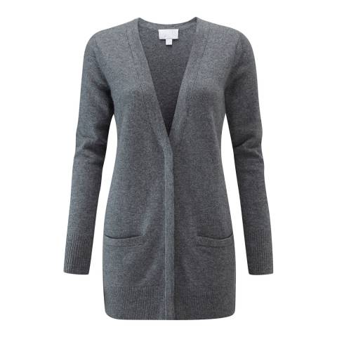 Pure Collection Soft Charcoal Cashmere Boyfriend Cardigan