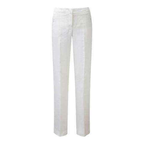 Pure Collection White Wide Leg Linen Trousers
