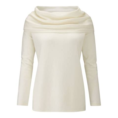 Pure Collection Soft White Wide Bardot Cashmere Sweater