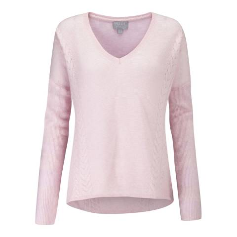 Pure Collection Rose Mist Cable Cashmere Jumper