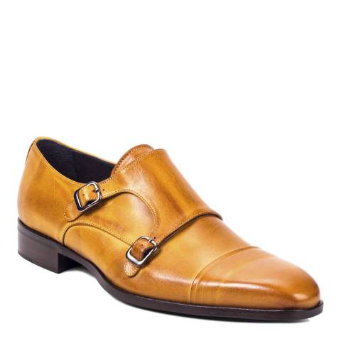 Ortiz & Reed Light Tan Leather Dante Double Monkstrap Shoes
