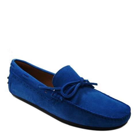 Ortiz & Reed Blue Suede Seston Bow Moccasins