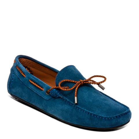 Ortiz & Reed Turquoise Suede Suade Bow Moccasins