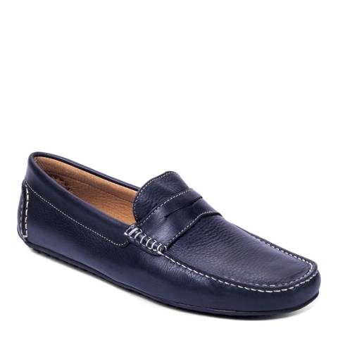 Ortiz & Reed Navy Leather Burton Moccasins