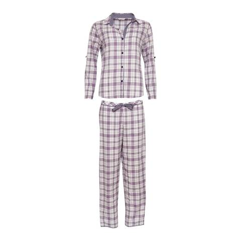 Cyberjammies White Check Print Abigal Woven Pajamas - Gift Set