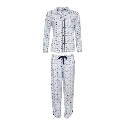 Cyberjammies White Geo Print Josie Woven Pajamas -Gift Set