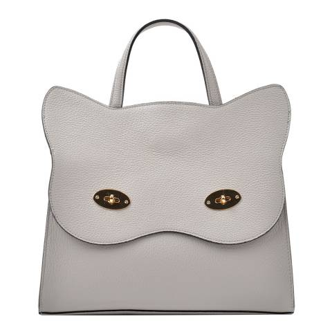 Renata Corsi Grey Leather Cat Top Handle Bag
