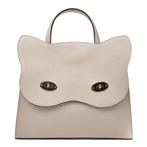 Renata Corsi Cream Leather Cat Top Handle Bag