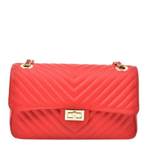 Renata Corsi Red Leather Flap Over Shoulder Bag