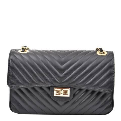 Renata Corsi Black Leather Flap Over Shoulder Bag