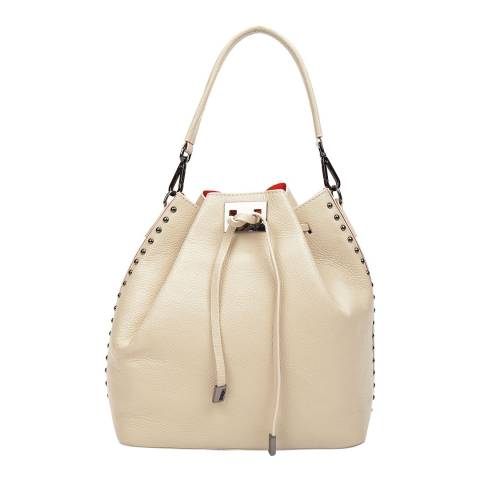 Renata Corsi Cream Leather Top Handle Bag