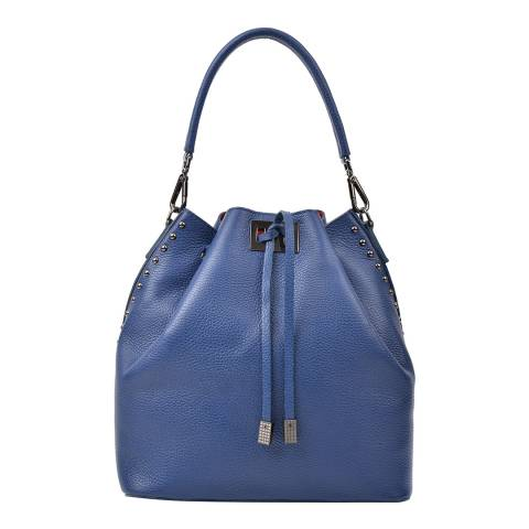 Renata Corsi Blue Leather Top Handle Bag