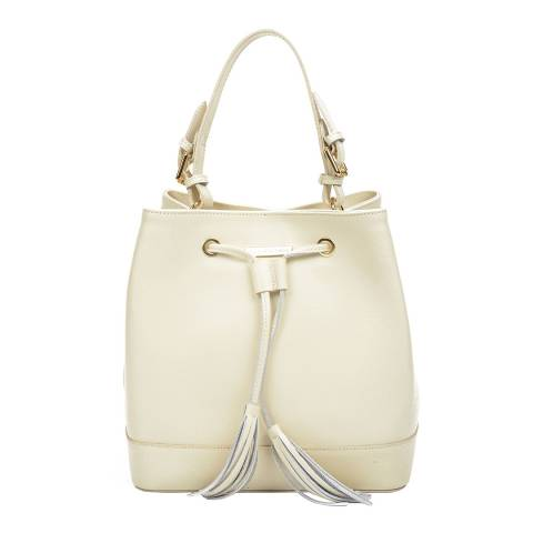 Renata Corsi Cream Leather Bucket Tote Handle Bag