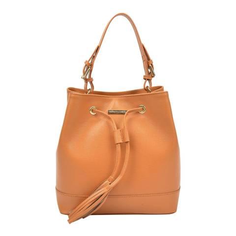 Renata Corsi Tan Leather Bucket Tote Handle Bag