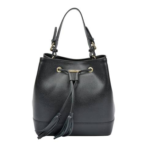 Renata Corsi Black Leather Bucket Tote Handle Bag