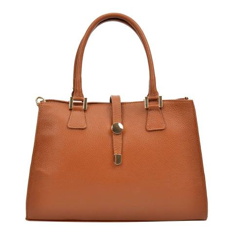 Renata Corsi Tan Leather Flap Over Tote Bag