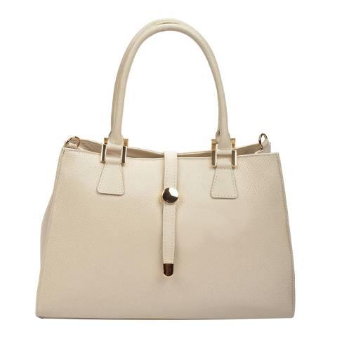 Renata Corsi Cream Leather Flap Over Tote Bag