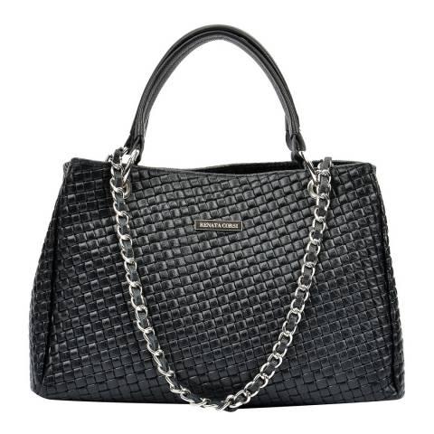 Renata Corsi Black Leather Chain Tote Bag