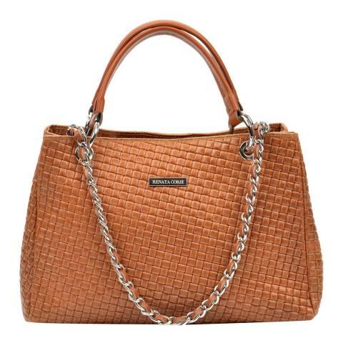 Renata Corsi Tan Leather Chain Tote Bag