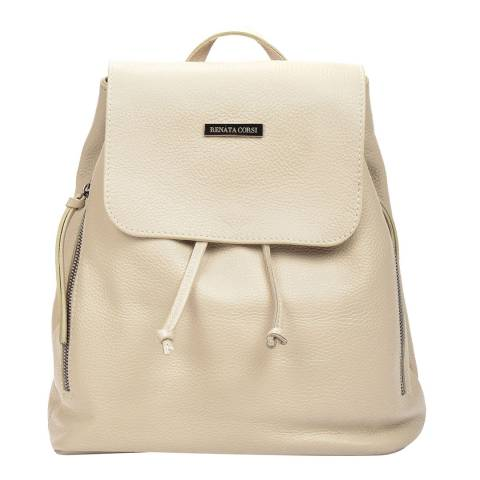 Renata Corsi Cream Leather Backpack