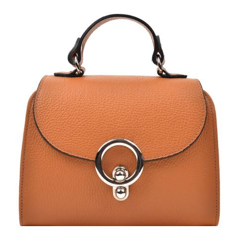 Renata Corsi Tan Leather Flap Over Top Handle Bag