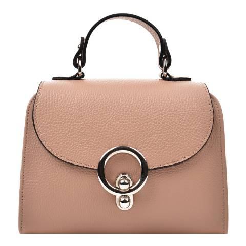 Renata Corsi Nude Leather Flap Over Top Handle Bag