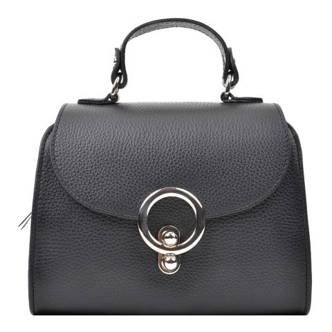 Renata Corsi Black Leather Flap Over Top Handle Bag
