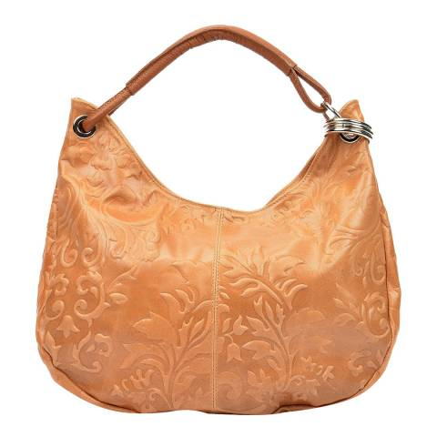 Renata Corsi Tan Leather Floral Print Shoulder Bag