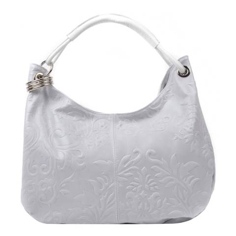 Renata Corsi White Leather Floral Print Shoulder Bag