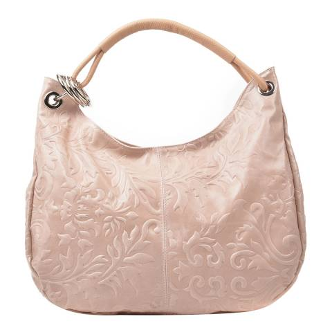 Renata Corsi Pink Leather Floral Print Shoulder Bag