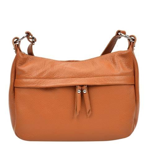 Renata Corsi Tan Leather Zip Front Shoulder Bag